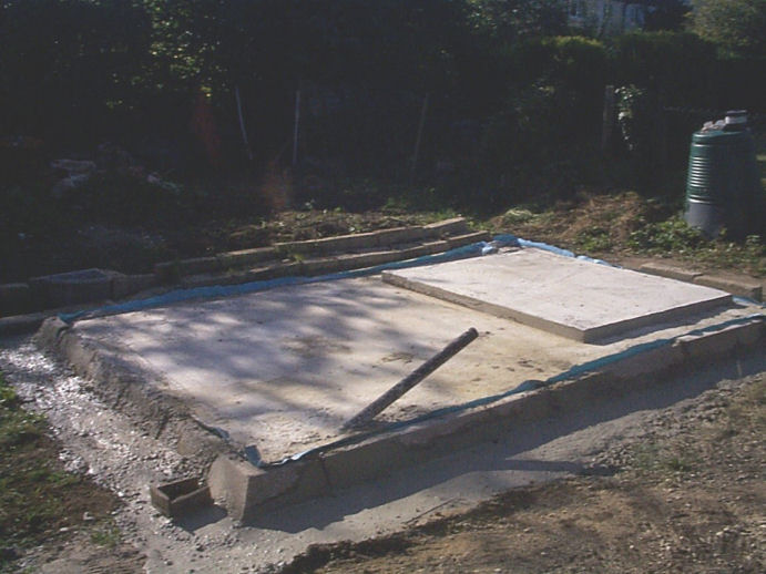 2.4 metre by 3.6 metre cement base