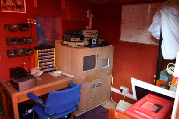 The control room with its mostly home built instruments